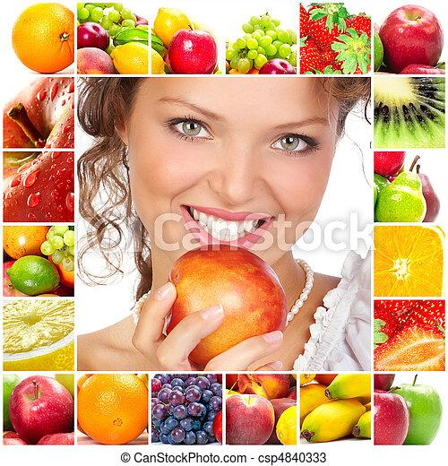Mujer y frutas - csp4840333