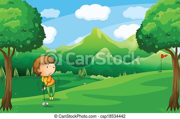 Una mujer jugando al golf - csp18534442