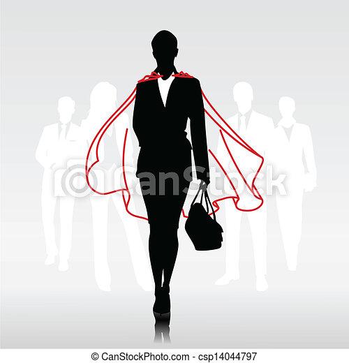 Mujer héroe del equipo - csp14044797