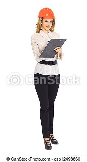 Una mujer ingeniera con casco. - csp12498860