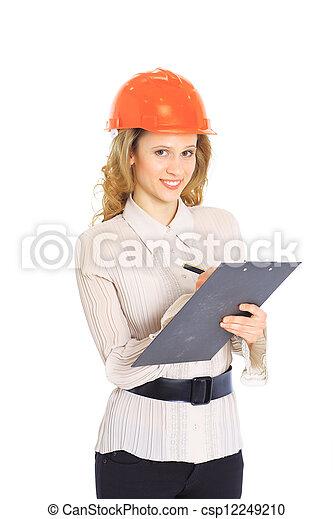 Una mujer ingeniera con casco. - csp12249210