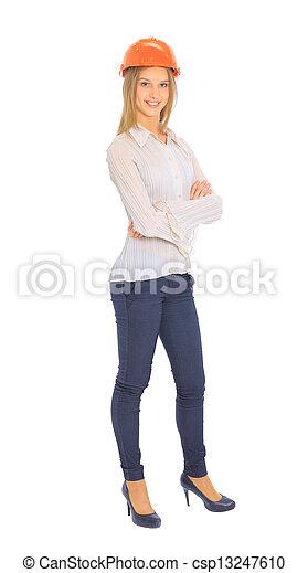 Una mujer ingeniera con casco. - csp13247610