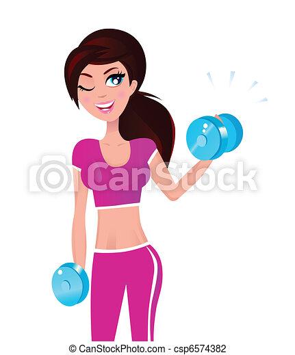 Hermosa mujer morena en forma ejerciendo con pesas en la mano - csp6574382