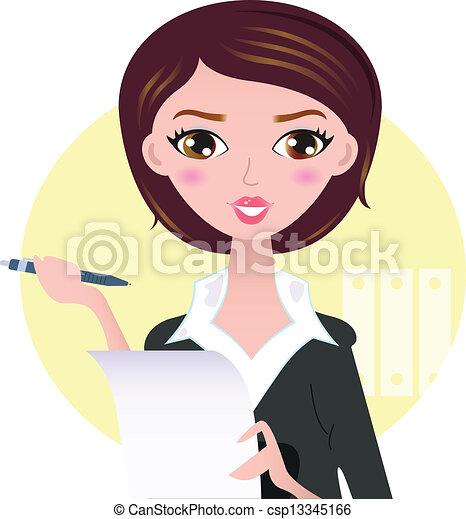 Hermosa mujer de negocios con pluma aislada en el fondo amarillo - csp13345166