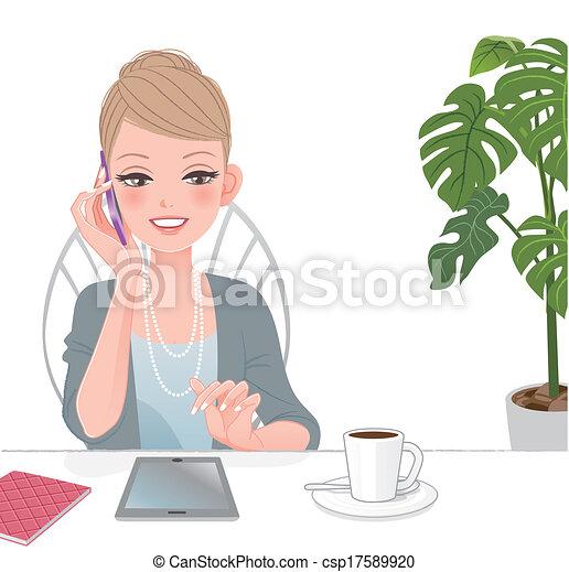 mujer hermosa, hablar, ejecutivo, almohadilla teléfono, tacto - csp17589920