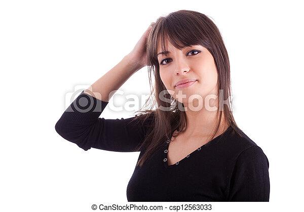 Un retrato cerrado de la joven y hermosa mujer caucásica - csp12563033