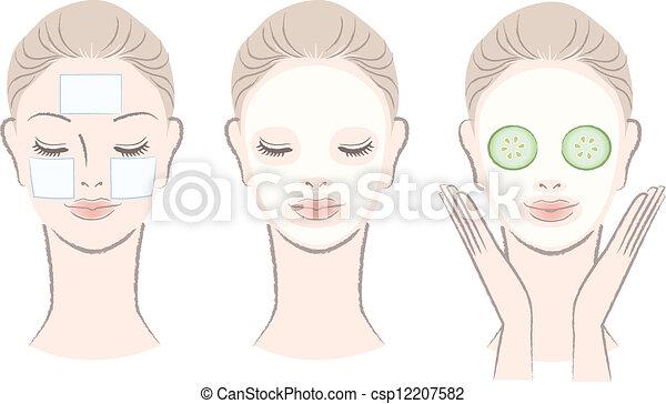 Hermosa mujer con máscara facial - csp12207582