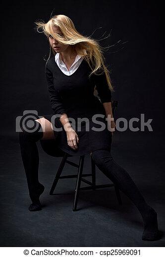 Mujer Hermosa Medias Negras Sexy Vestido Mujer Hermosa
