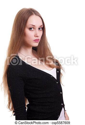 Retrato de bella mujer con cabello largo y rubio - csp5587609