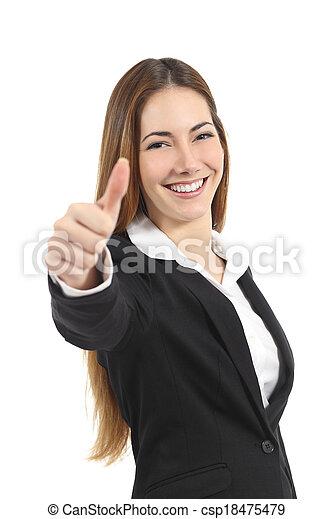 Hermosa mujer de negocios feliz con el pulgar arriba - csp18475479