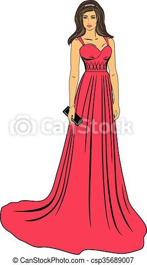Mujer con vestido rojo dibujo