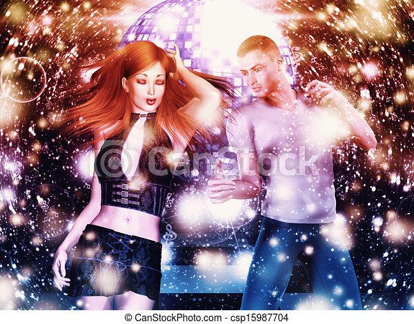 Hombre y mujer bailando - csp15987704
