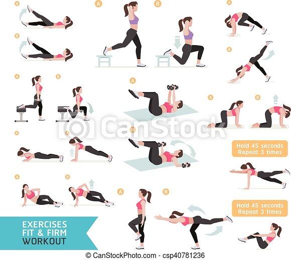 En forma de mujer, aerobic y ejercicios. Ilustración de vectores. - csp40781236