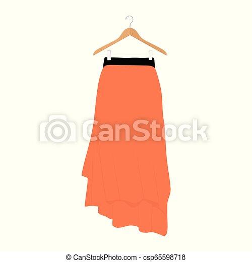 La plantilla de falda naranja Vector, diseño ilustración de la mujer de la moda. Mujeres falda en percha - csp65598718