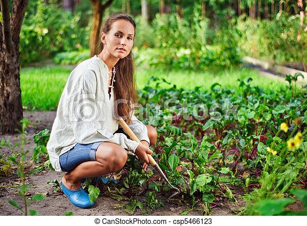 3ed322f9b Mujer, jardín, trabajando, joven, cama, azada.
