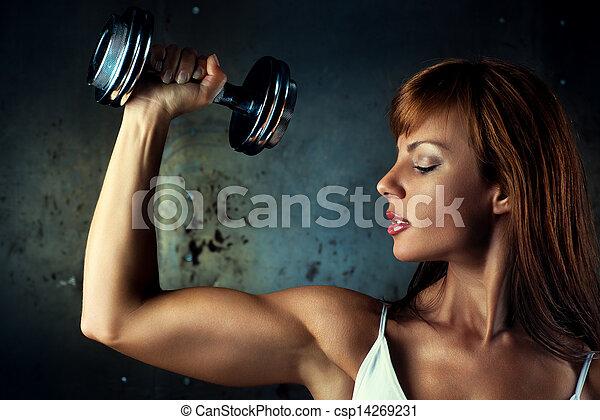 mujer, joven, deportes - csp14269231