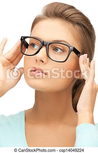 acdf96f710 Mujer, lentes. Hermoso, llevando, mujer, arriba, joven, lentes, cierre.