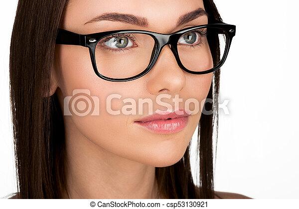 48279b6501 Mujer, lentes, joven. Lentes, joven, aislado, mujer, atractivo ...