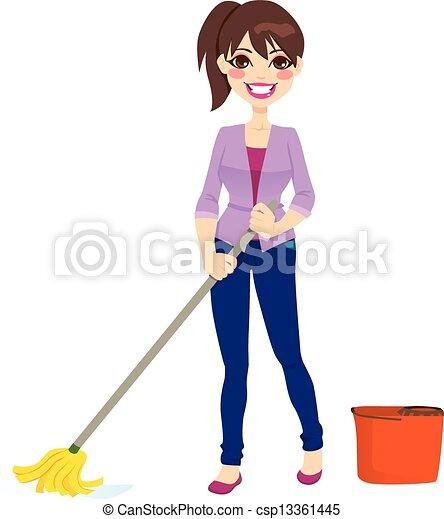 Mujer limpiando piso - csp13361445