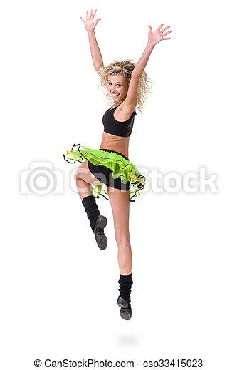 Aerobics fitness mujer saltando aislado en cuerpo completo. - csp33415023