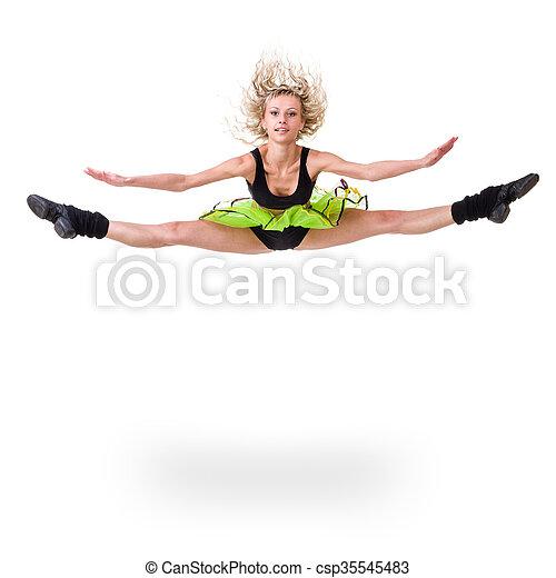 Aerobics fitness mujer saltando aislado en cuerpo completo. - csp35545483