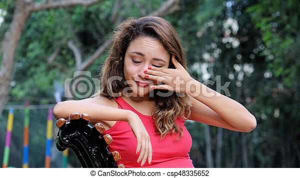 Una mujer llorona - csp48335652