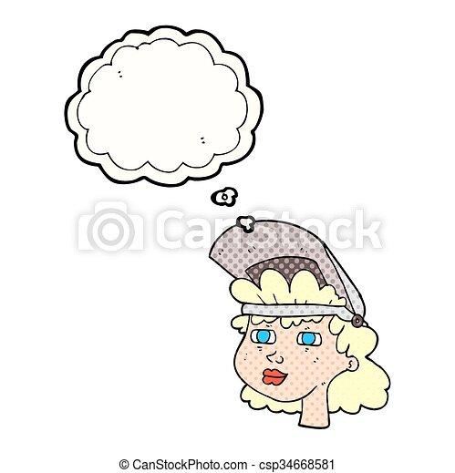 Pensé que la mujer de dibujos animados con máscara soldadura - csp34668581