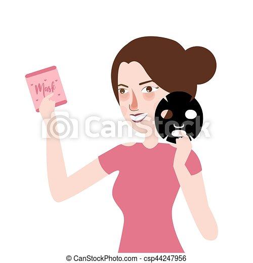 El tratamiento facial de la mujer máscara - csp44247956