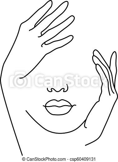 Dibujo De Línea Cara De Mujer Con La Mano Ilustración De