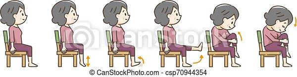 Una anciana haciendo ejercicio con una silla - csp70944354