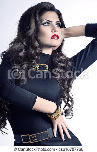 mujer, moda, maquillaje - csp16787766