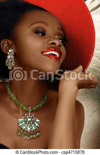 mujer, moda, navidad, africano - csp4715878