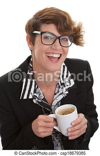 Mujer de negocios casual con café. - csp18679385