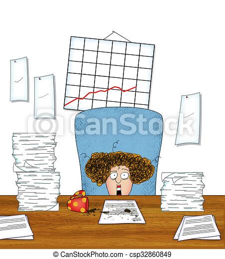 Una trabajadora de oficina estirada con montones de papeleo - csp32860849