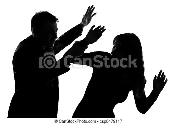 Un par de hombres y mujeres violencia doméstica - csp8479117