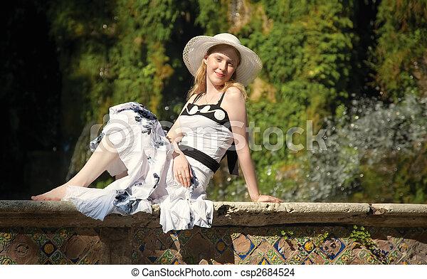 mujer, parque, joven - csp2684524