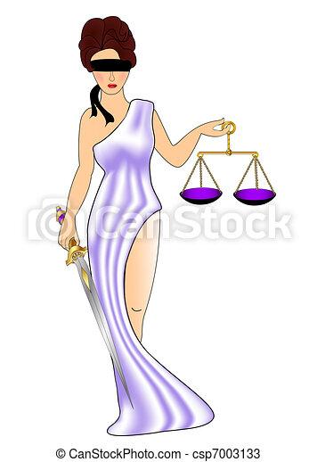 Mujer diosa de la justicia con peso y mezquita - csp7003133