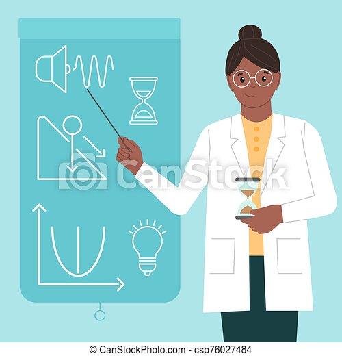 mujer, physicist., isolated., vector, plano, mujeres, science., científico, manzana, style., internacional, pointer., ilustración, físico, día, niñas - csp76027484
