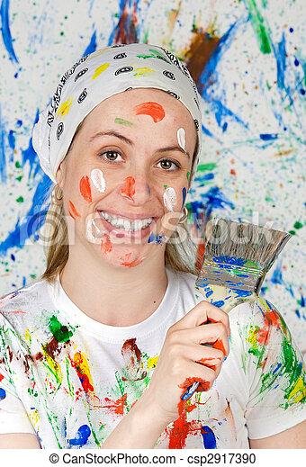 mujer, pintura - csp2917390