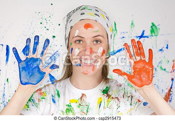 mujer, pintura - csp2915473