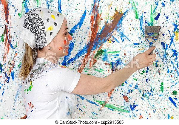 mujer, pintura - csp2915505
