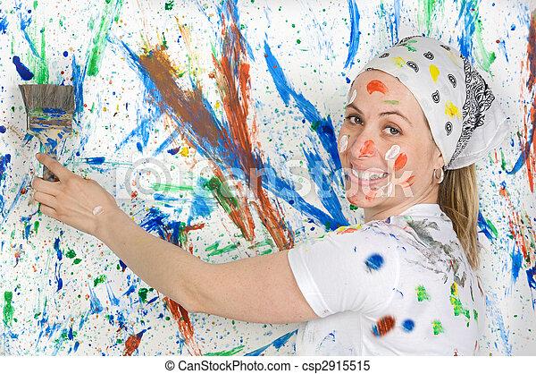 mujer, pintura - csp2915515
