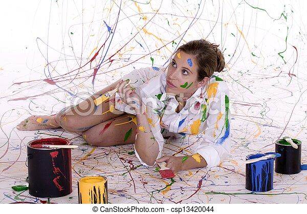 mujer, pintura - csp13420044