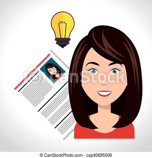 Mujer y curriculum vitae - csp40695006