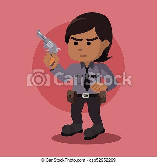 Una policía africana con un arma - csp52952269
