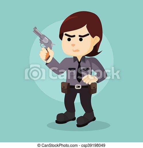 Una mujer policía con un arma - csp39198049