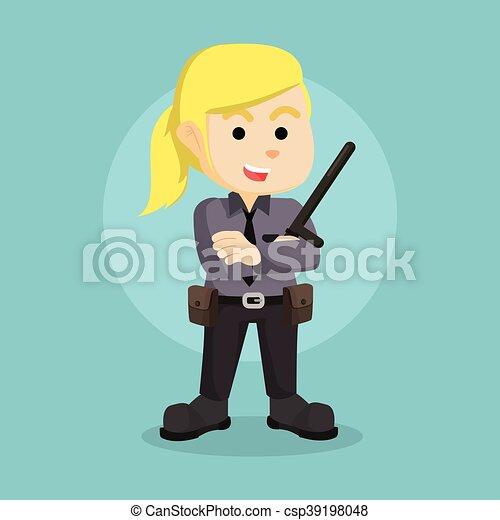 El personaje de ilustración de la mujer policía - csp39198048