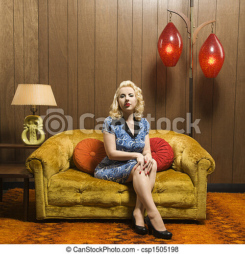 mujer, portrait., retro - csp1505198