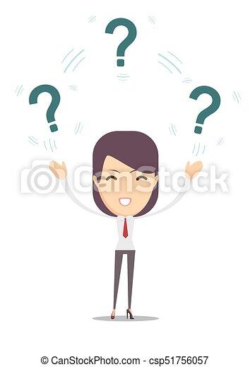Mujer con preguntas - csp51756057