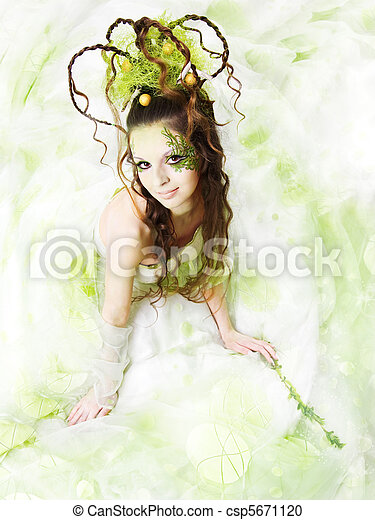 Floral Spring Woman - csp5671120